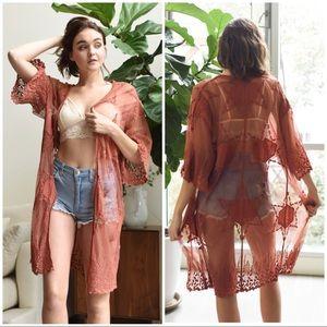 Sweaters - CARINA Embroidered mesh kimono